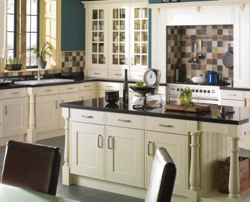Edwardian Painted Sheraton Traditional Kitchen