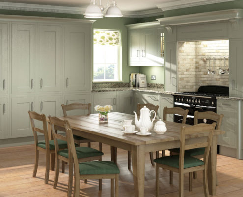 Wood Framed Painted Sheraton Traditional Kitchen