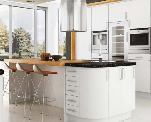 Satin White Sheraton Contemporary Kitchen