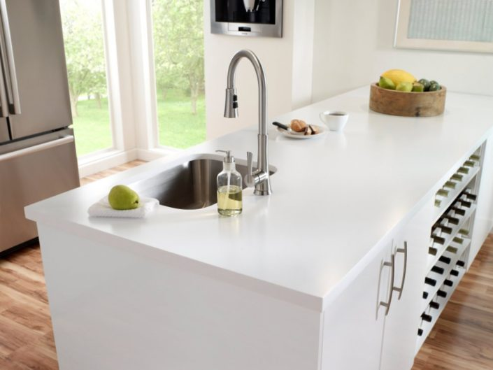 Designer White Corian Kitchen Worktop